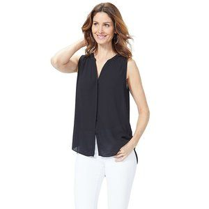 NYDJ sleeveless Pintuck Blouse Black